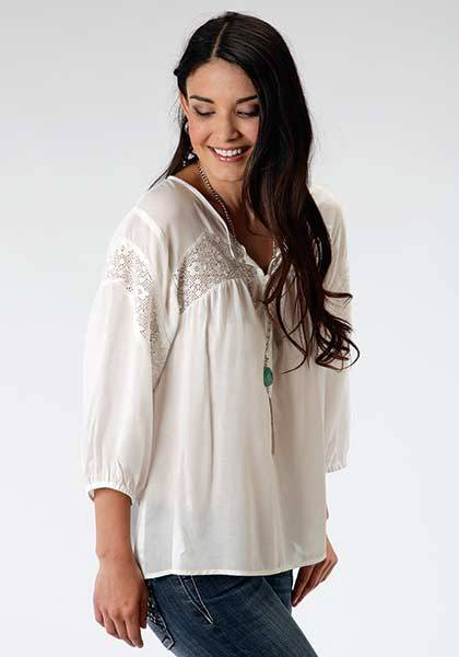 Roper Ladies Wildwood Floral Lace Peasant Blouse