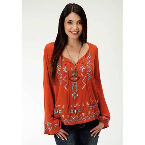Roper Ladies Woven Crepe Peasant Blouse