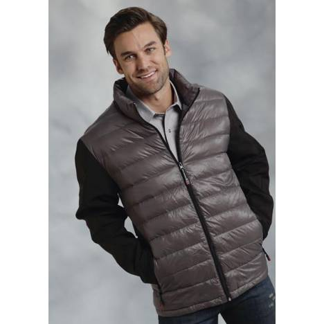 Roper Mens Down Fill Softshell Sleeve Jacket - Grey