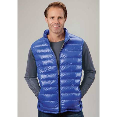 Roper Mens Lighweight Parachute Quilted Vest - Blue