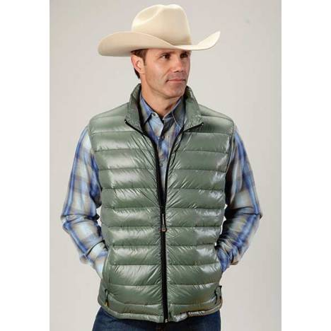 Roper Mens Lighweight Parachute Quilted Vest - Green