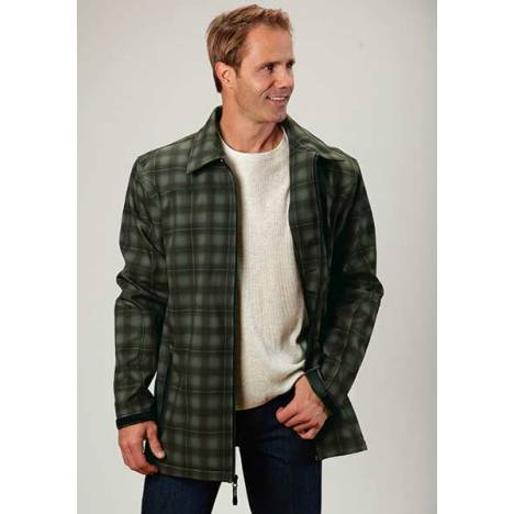 Roper Mens Technical Fleece Lined Plaid Softshell Ranch Coat