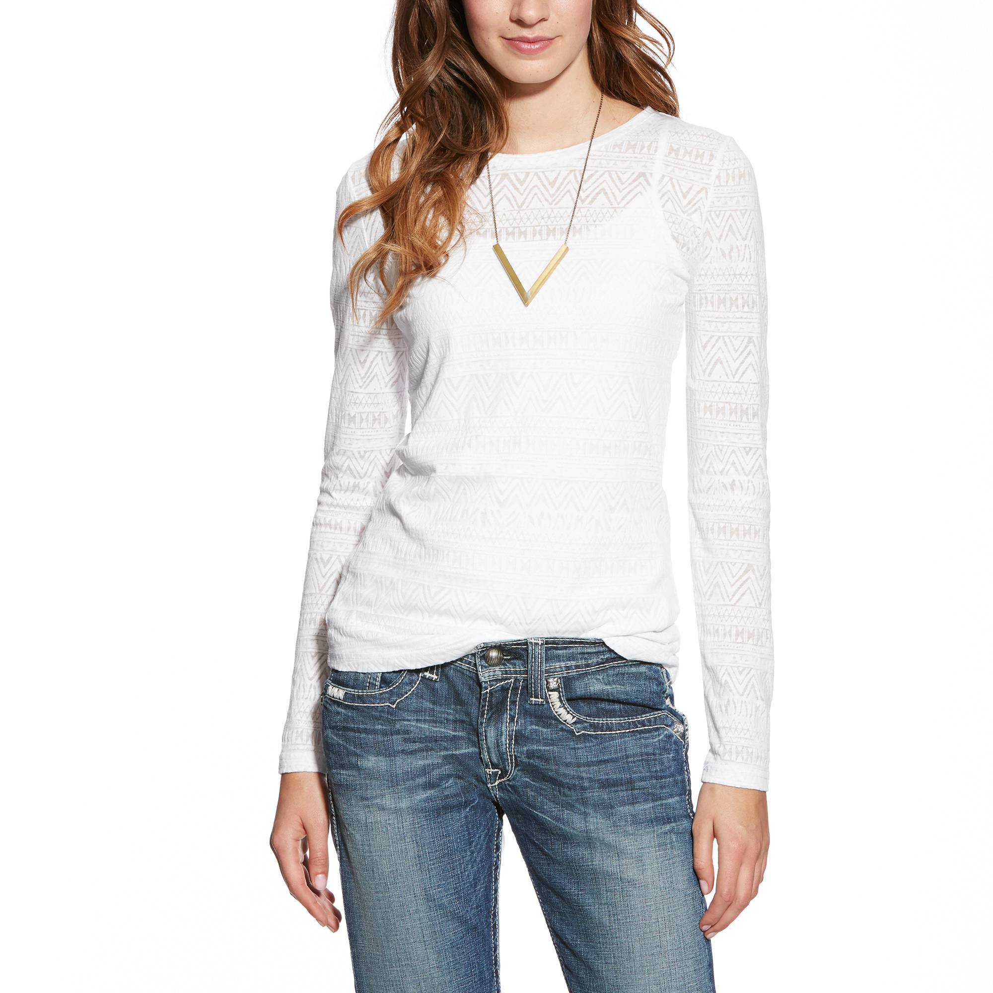 Ariat Women's Aztec Burn Out Top