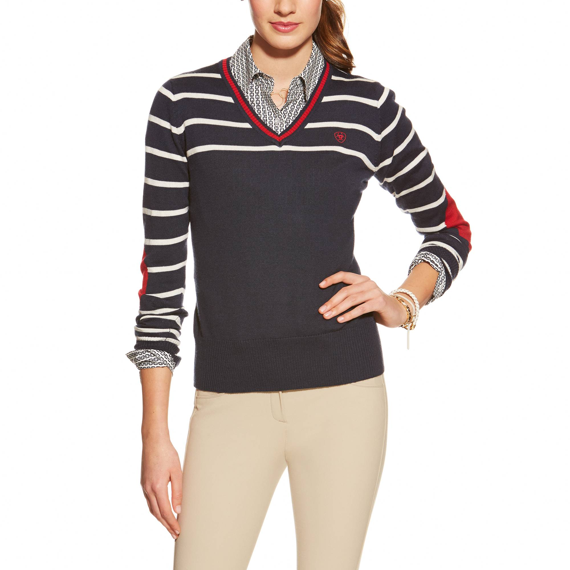 Ariat Ramiro V Neck - Ladies - Navy Multi