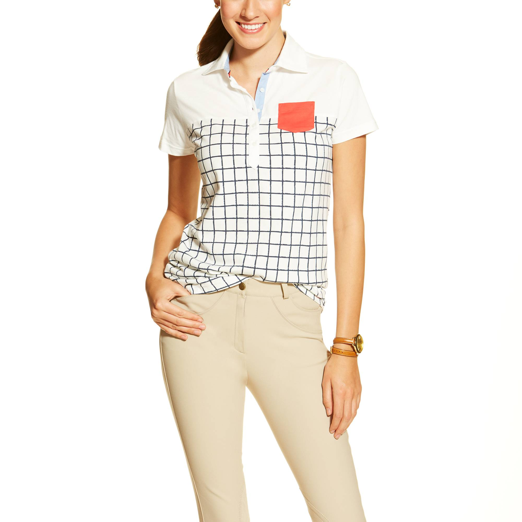 Ariat Twist Jersey Polo - Ladies - Navy Check