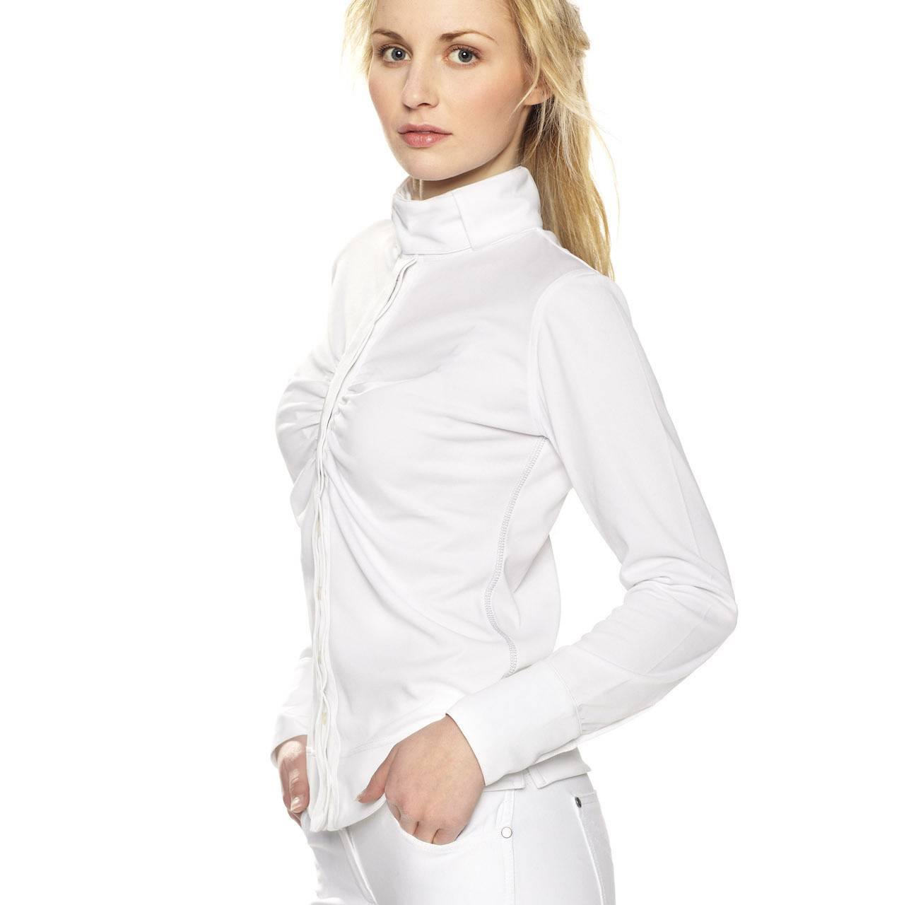 Gersemi Long Sleeve Button Competition Shirt - Ladies - White