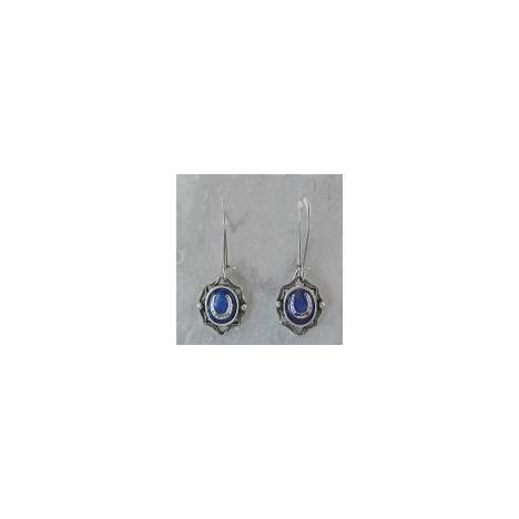 Finishing Touch Blue Onyx Oval Frame Horseshoe Earrings - Kidney Wire