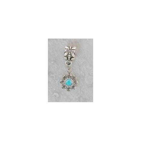 Joppa Crystal Stone Flower with Turquoise Center Dangle Bead