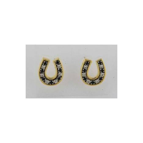 Finishing Touch Channel Horseshoe Earrings - Black
