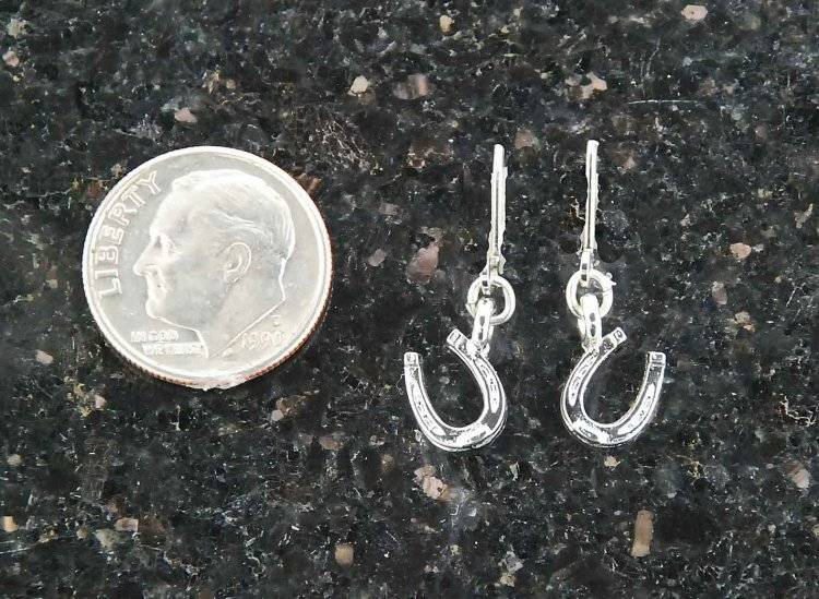 Finishing Touch Mini Horseshoe Charm Dangle Earrings - Euro Wire