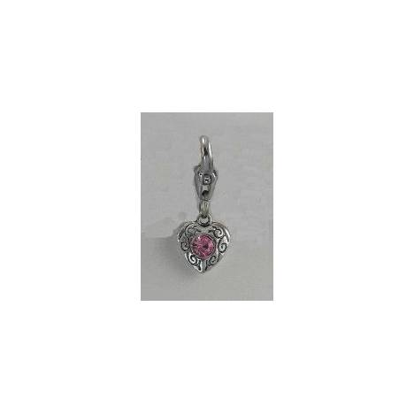 Barbary Silver Heart with Pink Stone Charm