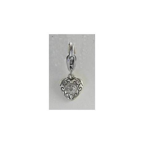 Barbary Silver Heart with Stone Charm