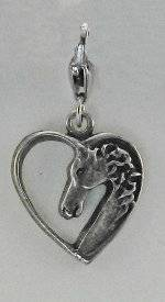Barbary Horse Head In Heart Charm