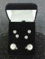 Finishing Touch Crystal Stone Shirt Studs & Cuff Links
