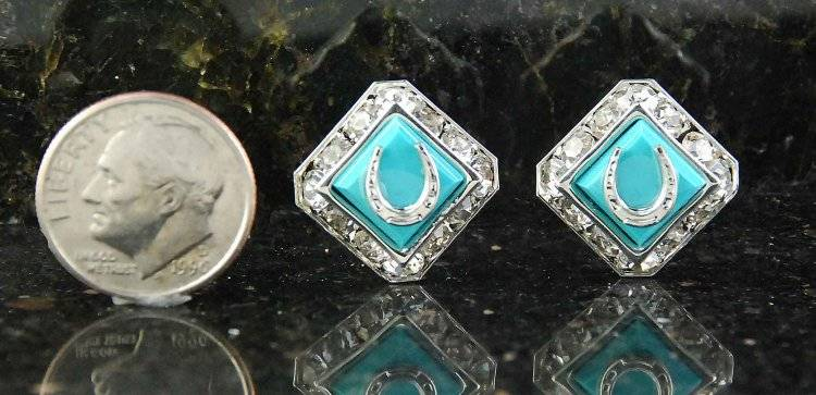 Finishing Touch Sq Rondelle with Swarovski Crystal Mini Horseshoe Earrings - Im Turquoise