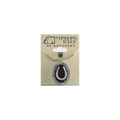 Finishing Touch Oval Crystal Stone Necklace - Black Onyx Stone & Horseshoe