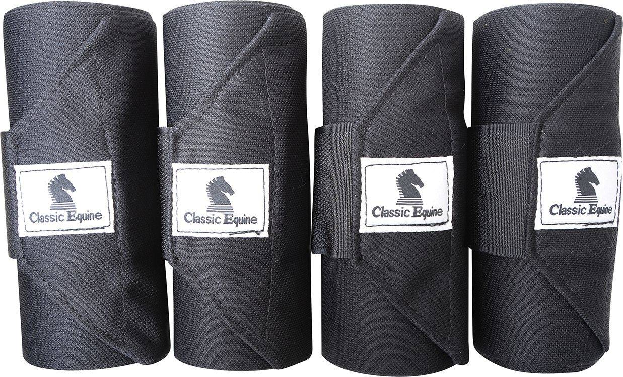 Classic Equine Standing Wrap Bandage - Black, Set of 4