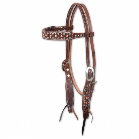 Martin Turquoise & Copper Dots Browband Headstall