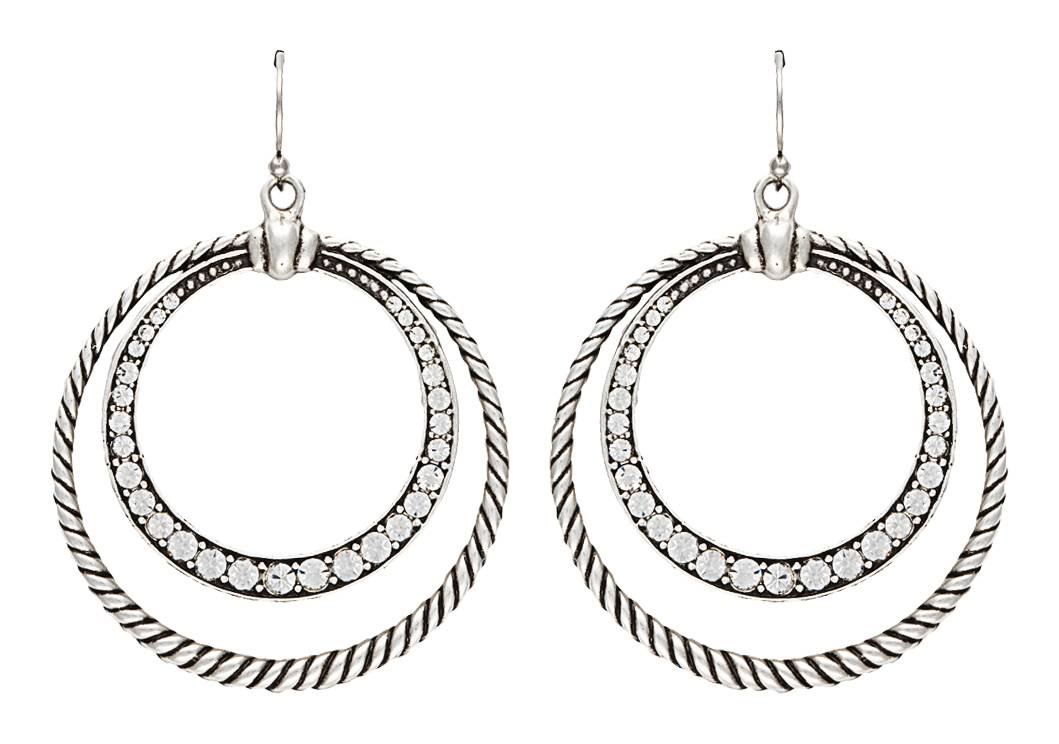 Rock 47 Outlaw Rider Rope and Rhinestone Circle Earrings