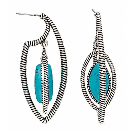 Rock 47 Campfire Coals Stone Double Marquis Earrings