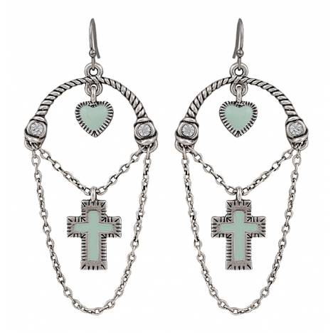 Rock 47 Vintage Kitsch Looped Chains with Cross Earrings