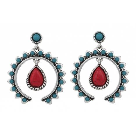 Rock 47 Tribal Flair Red and Turquoise Squash Blossom Earrings