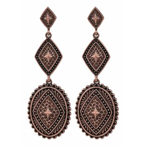 Rock 47 Points of Aztec Copper-tone Pyramid View Earrings