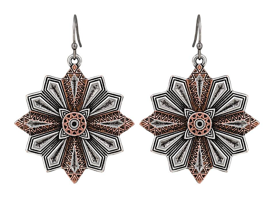 Rock 47 Points of Aztec Copper Accent Starburst Earrings
