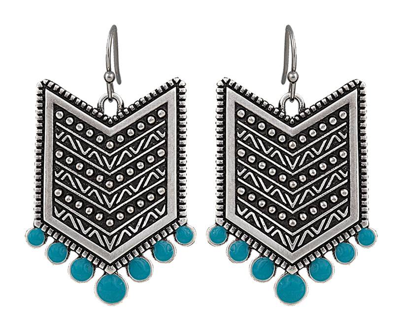 Rock 47 Points of Aztec Silver Tone Fletched Earrings