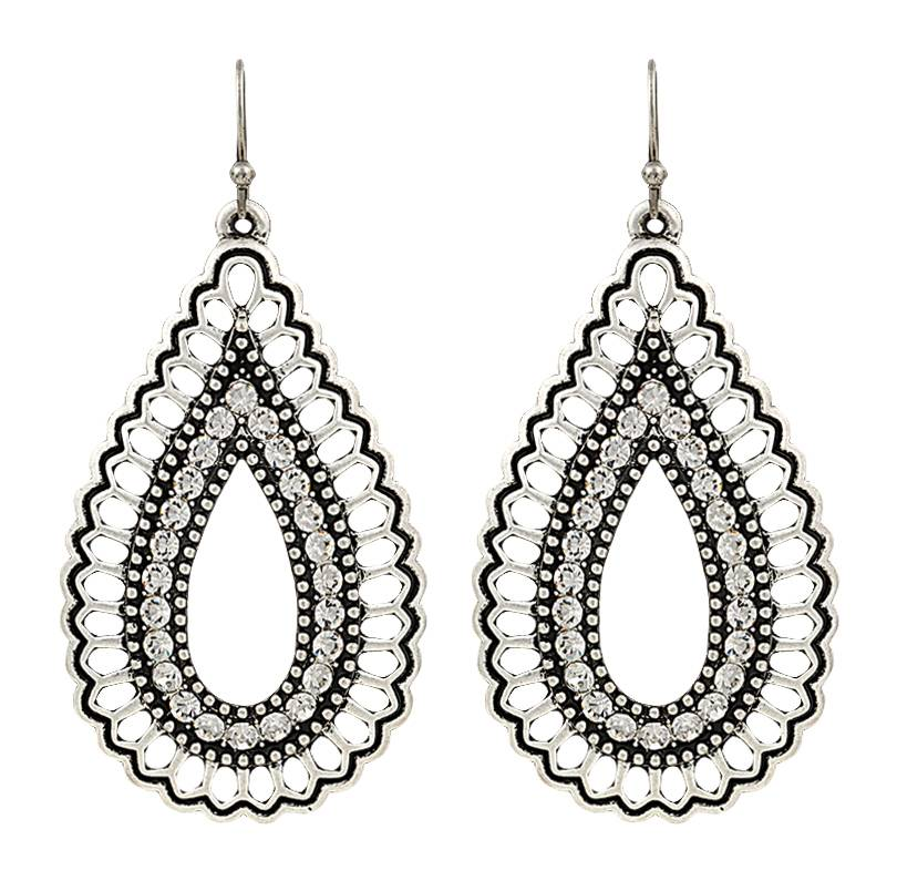 Rock 47 Vintage Kitsch Open Sparkling Teardrop Earrings