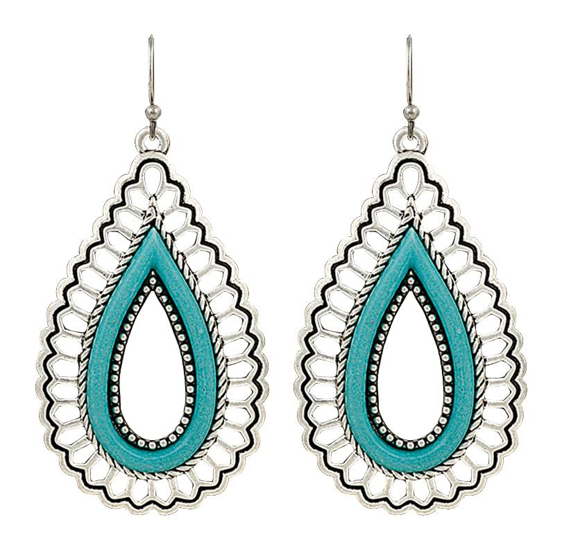 Rock 47 Vintage Kitsch Open Turquoise Teardrop Earrings
