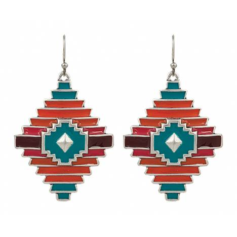 Rock 47 Points of Aztec Notched Diamond Shaped Earrings
