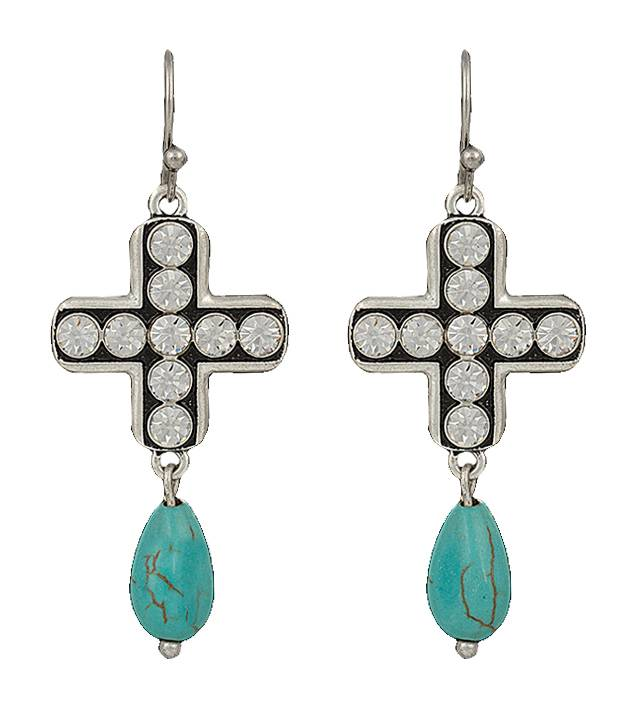 Rock 47 Vintage Kitsch Sparkling Cross and Turquoise Drop Earrings