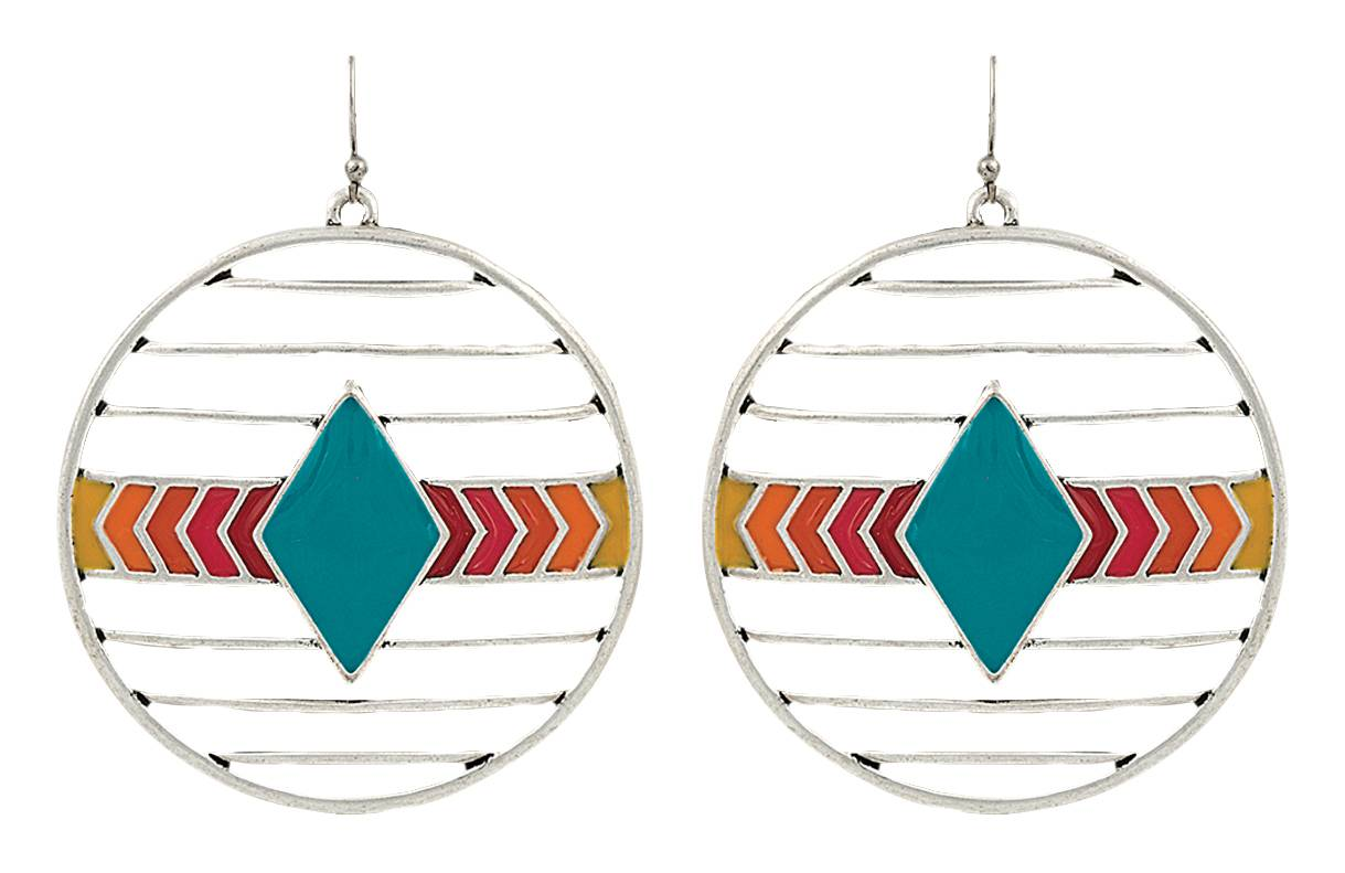 Rock 47 Points of Aztec Wired Circle Turquoise Earrings