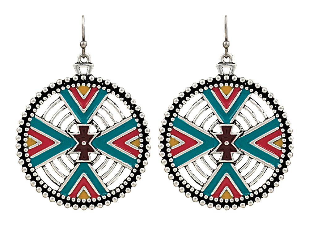Rock 47 Points of Aztec Four Directions Earrings