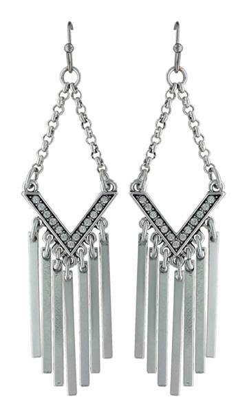 Rock 47 By Wrangler Retro Flair Rhinestone And Fringe Earrings