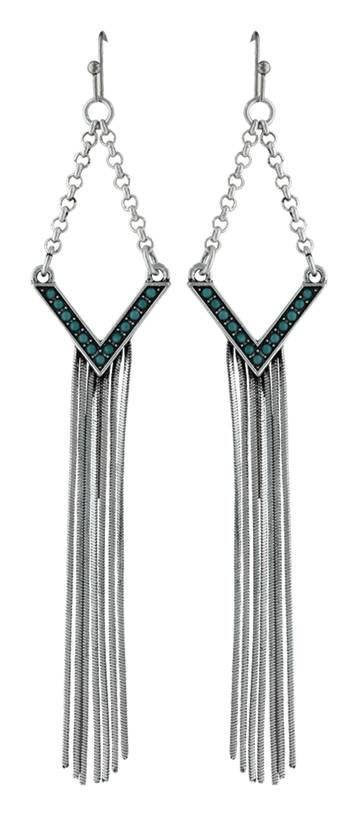 Rock 47 By Wrangler Retro Flair Stud And Icicle Fringe Earrings