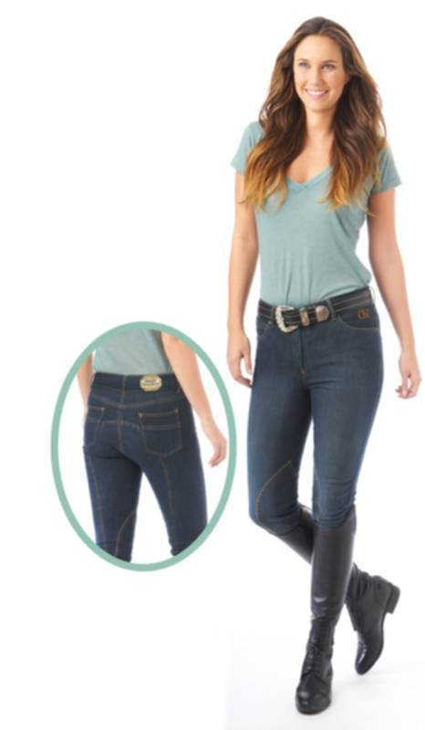Ovation Ladies Denim Euroseat Knee Patch Riding Breech