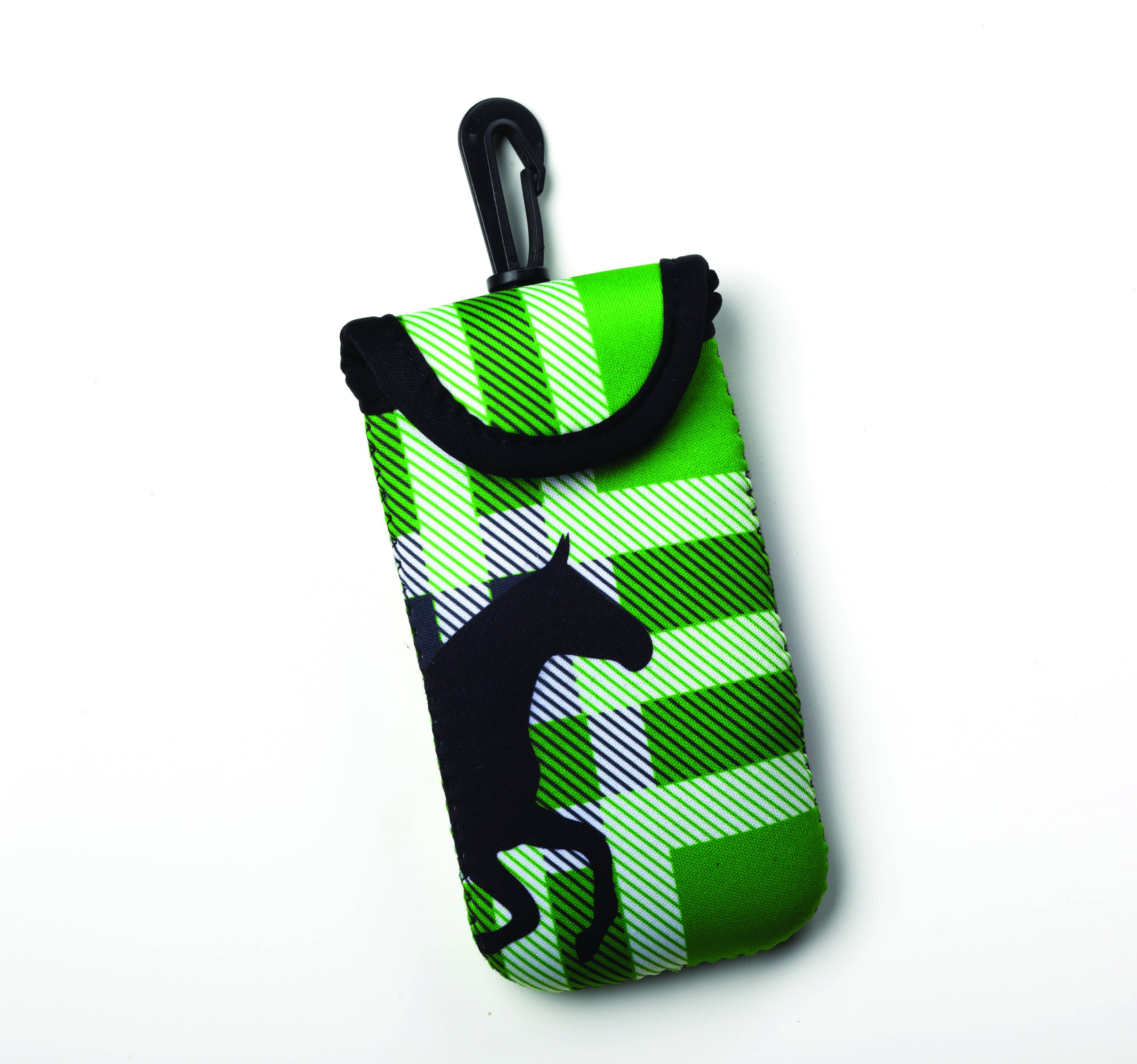 Kelley Tek Trek Neoprene Smartphone Case - Green Plaid Galloping Horse
