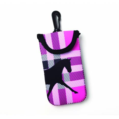 Kelley Tek Trek Neoprene Smartphone Case - Pink Plaid Dressage