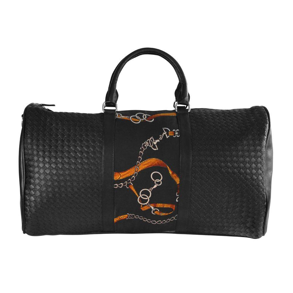 Huntley Equestrian Woven Leather Duffle Bag - Black