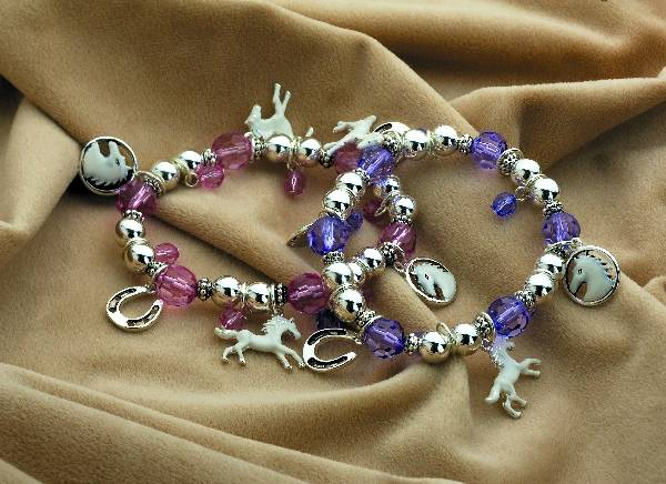 KY White Horse Bracelet with Charms