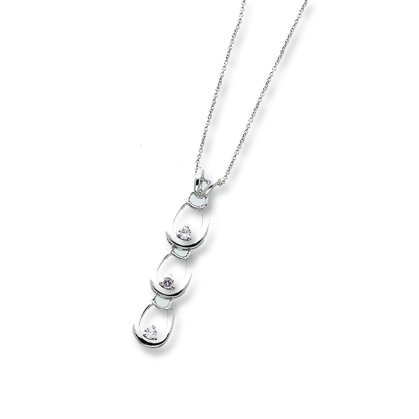 Kelley 3 Horseshoes Necklace with Clear Stones