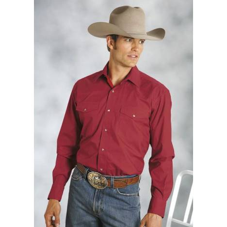 Roper Amarillo Poplin Shirt -Mens, Solid Red