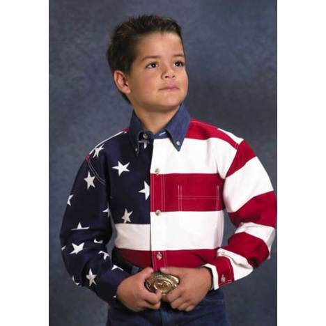 Roper Cotton American Flag Western Shirt - Boys