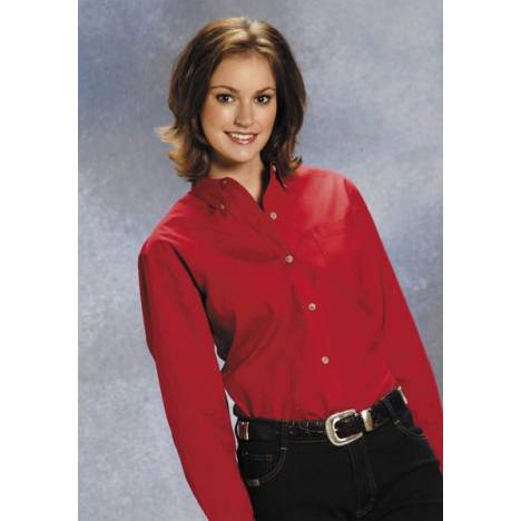 Roper Button Down Collar Western Shirt - Ladies, Red