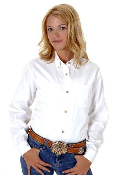 Roper Button Down Collar Western Shirt - Ladies, White