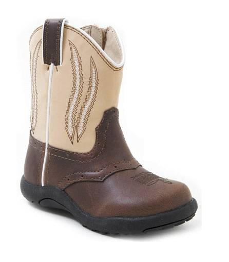Roper Faux Leather Chunk Boot - Infant, Brown/Bone