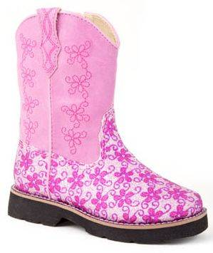 Roper Faux Leather Floral Glitter Boots - Infant, Pink