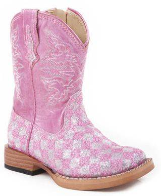 Roper Faux Leather Checkerboard Glitter Boots - Infant, Pink